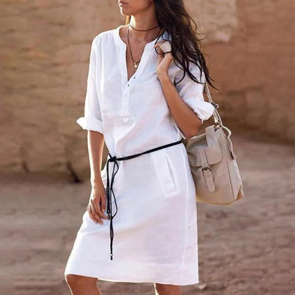 Roll Up Sleeve V-Neck Shirt Dresses