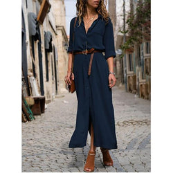Shift Shirt Collar Buttoned Work Summer Dress