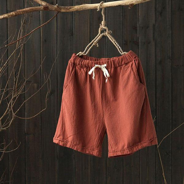 Casual Unisex Pockets Linen Solid Drawcord Plus Size Shorts