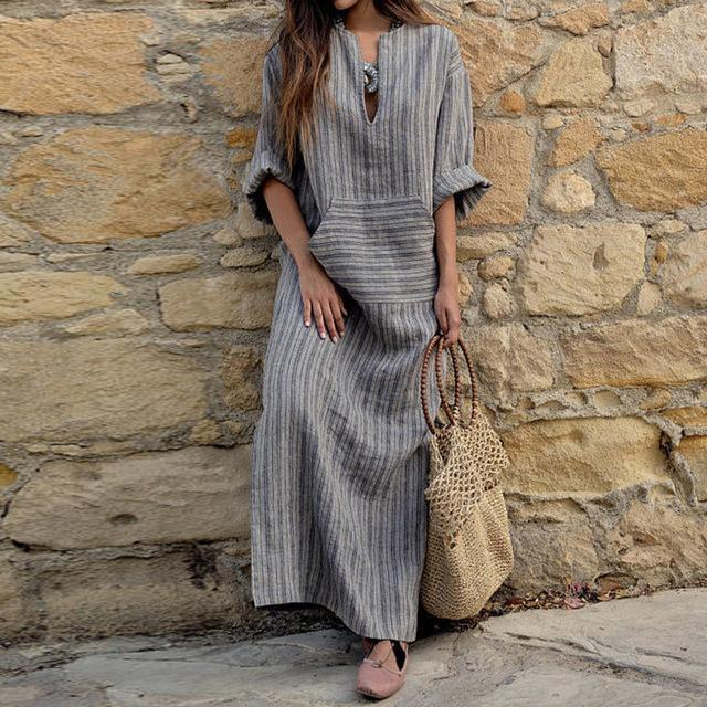 Women Oversized Retro Casual Loose Long Maxi Dresses Cotton Linen Striped Long Sleeve Ankle Length Dress
