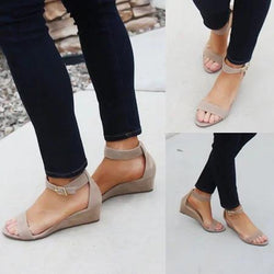 Nubuck Sandals Casual Peep Toe Adjustable Buckle Shoes