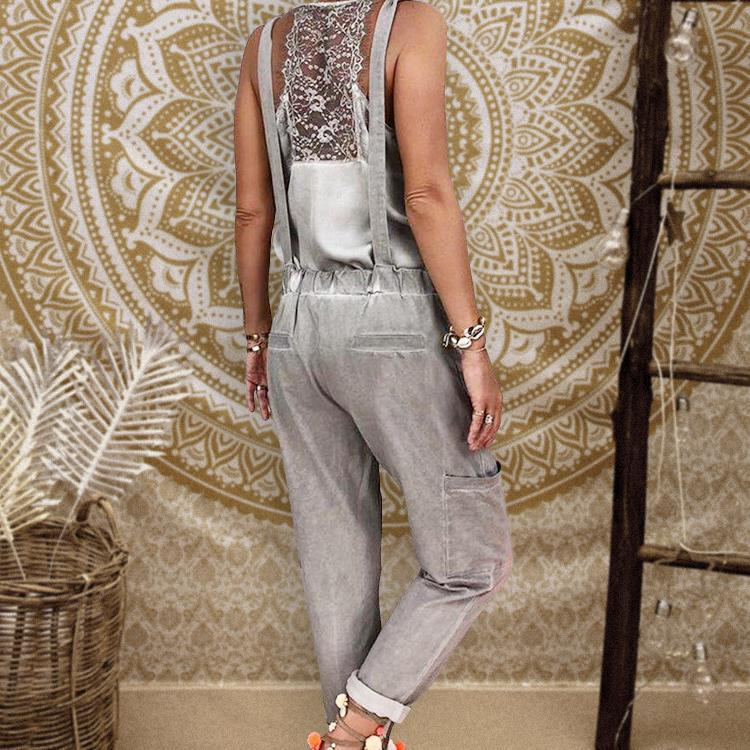 Casual Solid Color Pocket Jumpsuits