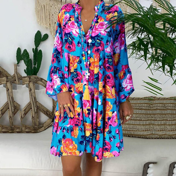 Plus Size Print V-neck 3/4 Sleeve Dresses