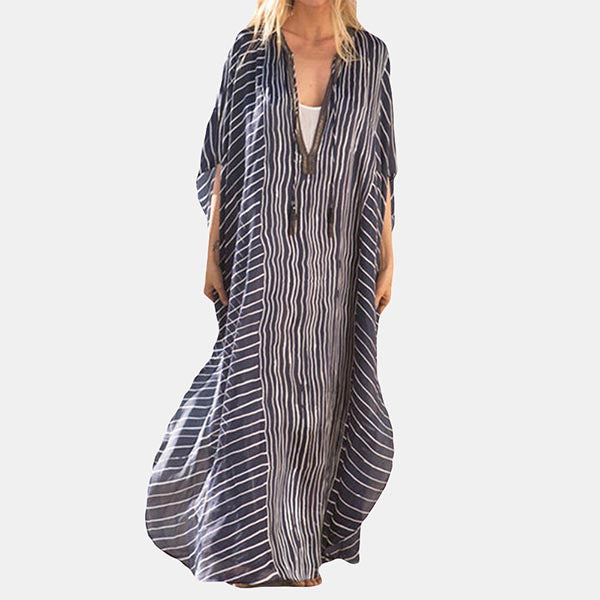 Women Irregular Stripe Loose Maxi Dress