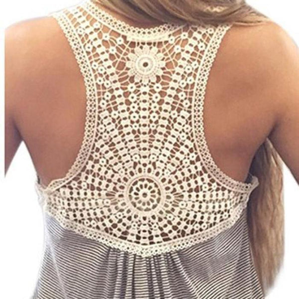Casual Fit Cotton & Lace Back Tank Top