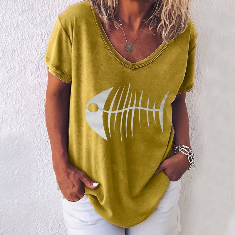 Short Sleeve Round Neck Fish Head Print T-Shirt