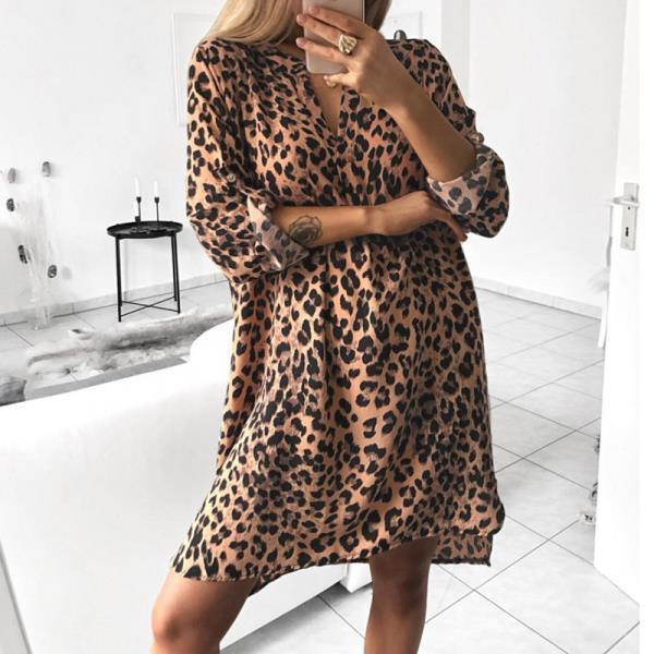 V-neck Print Long Sleeve Dresses