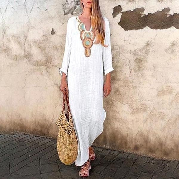 Sexy Deep V-neck Side Split Dress Beach Holiday Bohemian Maxi Dress