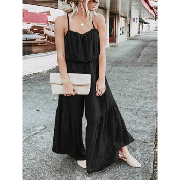 Women Solid Color Strapped Pleated Jumpsuits
