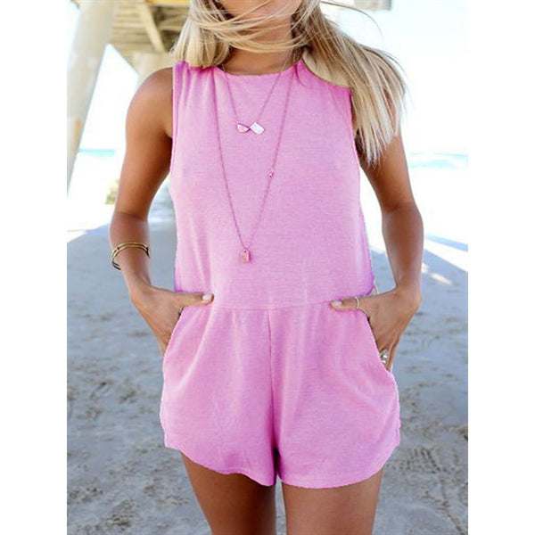 Summer Round Neck Sleeveless Casual Jumpsuit