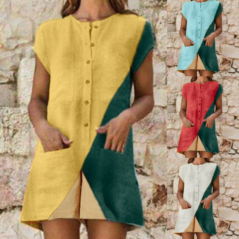 Causal Color Matching Short Sleeve Jumpsuits