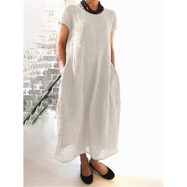 Summer Pockets Round Neck Daily Dresses