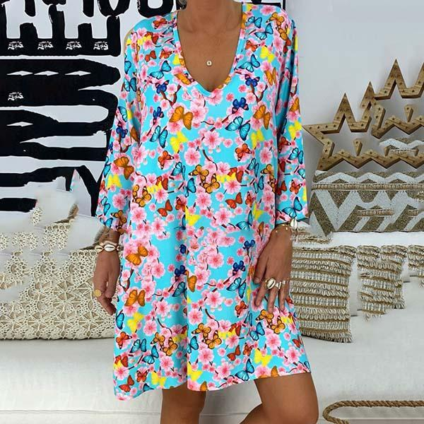 Plus Size Butterfly Printer V Neck Dress