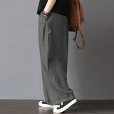 Loose High Elastic Waist Wide Leg Pants