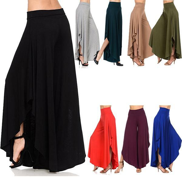 Casual  High Waist Irregular Loose Wide Leg Pants