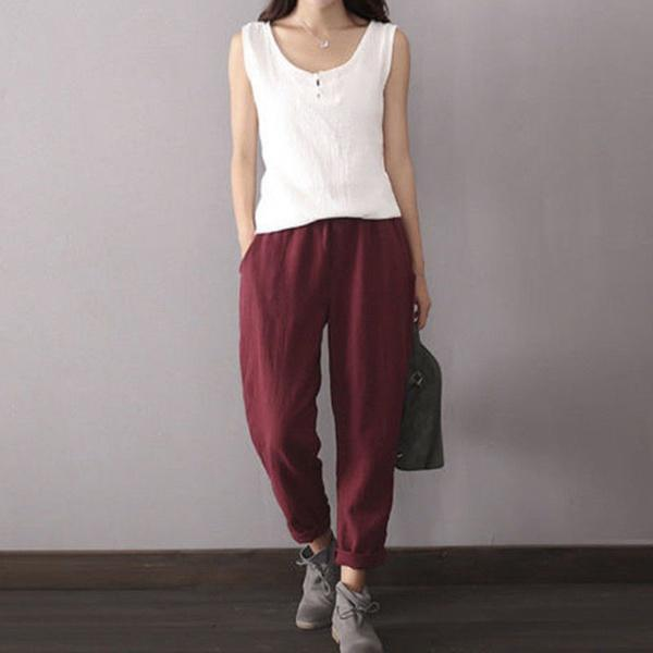 Simple & Basic Shift Solid Color Pants