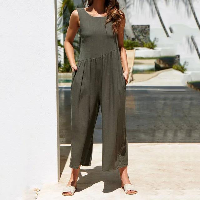 Crew Neck Linen Sleeveless Solid Bohemian Jumpsuits