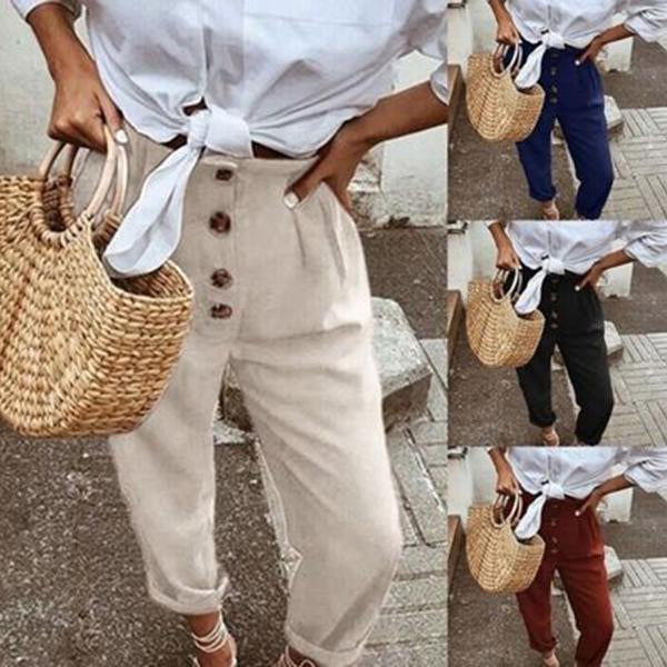 Loose Linen Buttoned High-Rise Paneled Plain Pants