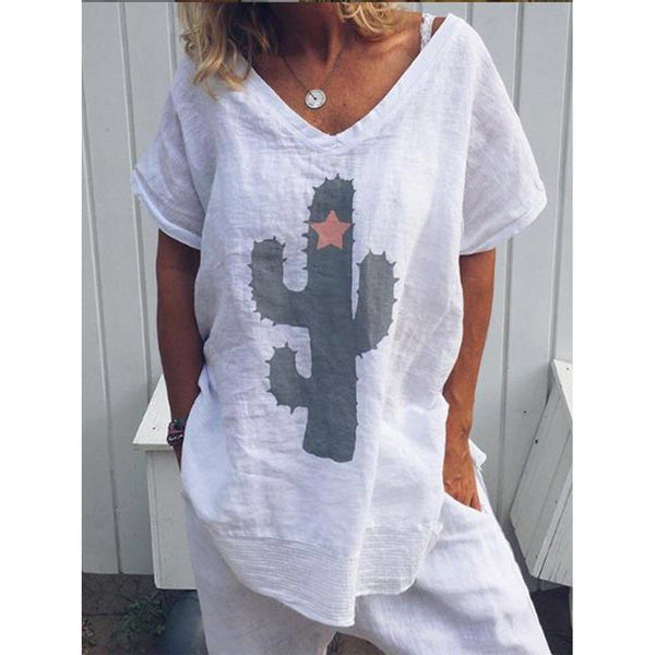 Summer Plus Size Cactus Printed T-Shirt
