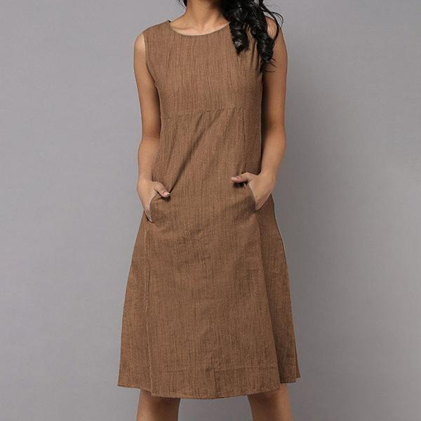 Solid Color Women Round Neck Casual Dresses