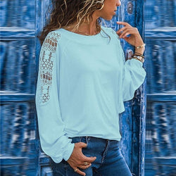 Women Pure Color Lace Blouse