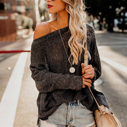 One Shoulder Plain Sweater