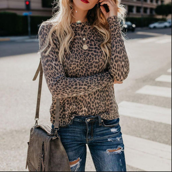 Round Neck Leopard Shirts