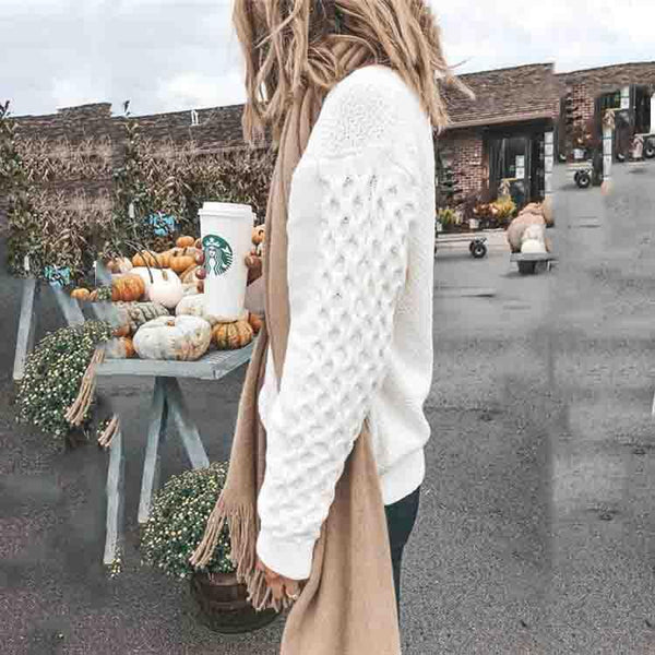 White Casual Long Sleeves Sweaters