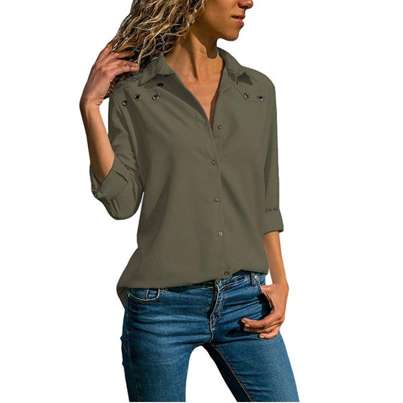 Turn Down Collar Solid Plus Size Blouse