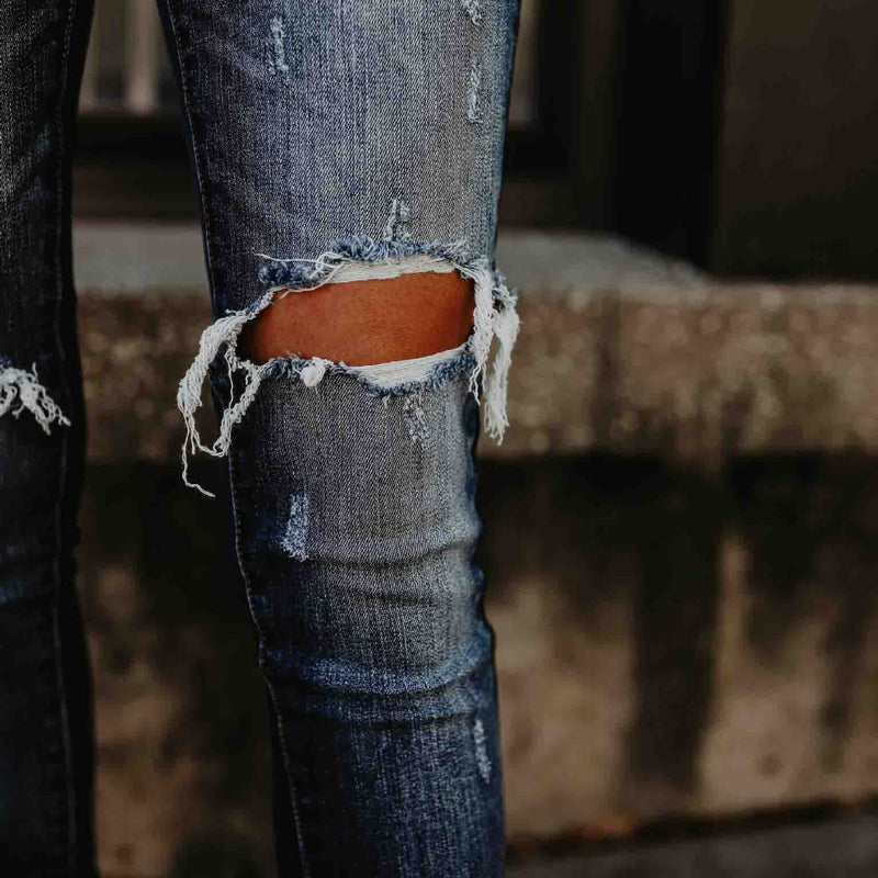Cutout Frayed Trim Fringe Decorative Hardware Plain Jeans
