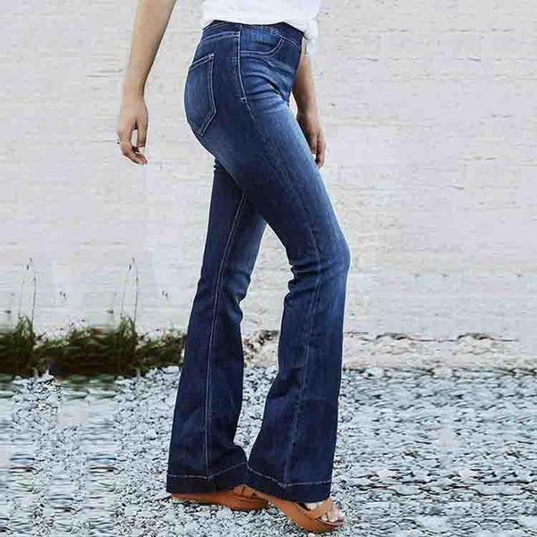 Casual Solid Elastic Mid Waist Denim Jeans