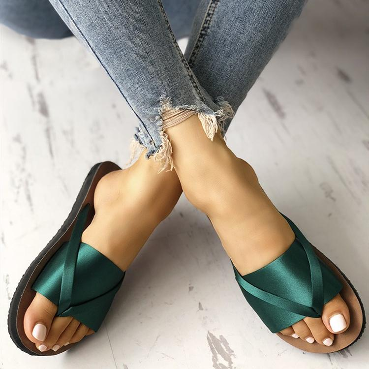 Satin Splicing Toe Post Flat Sandals