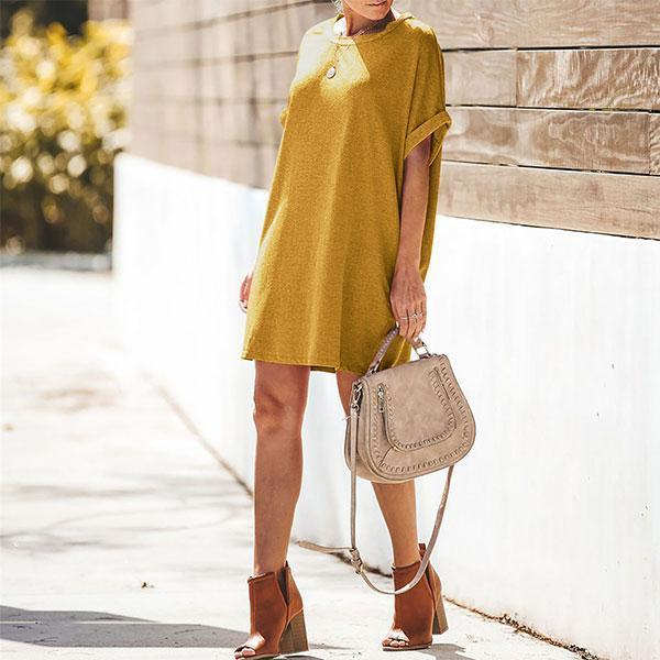 Casual Short-Sleeved Solid Color Dress