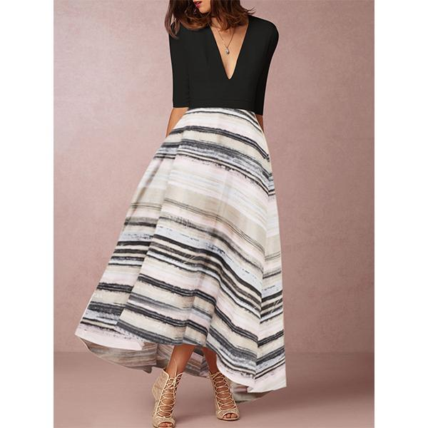 Deep V Neck Print Color-Block Elegant Maxi Dresses