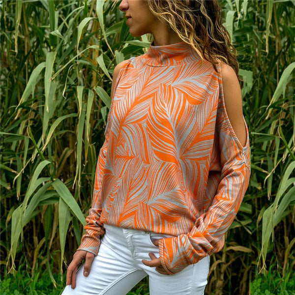 Printed Vintage Cold Shoulder Long Sleeve Shirts