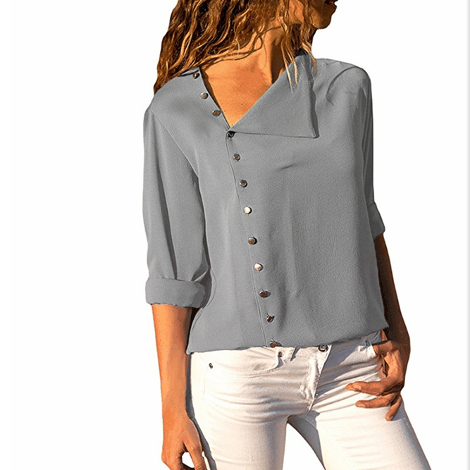 Women Chiffon Shirts V Collar Folds Shirt