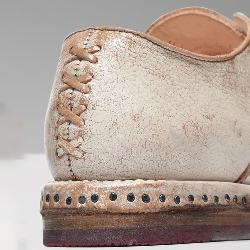 Women's Cap Toe X Stitching Vintage Loafers