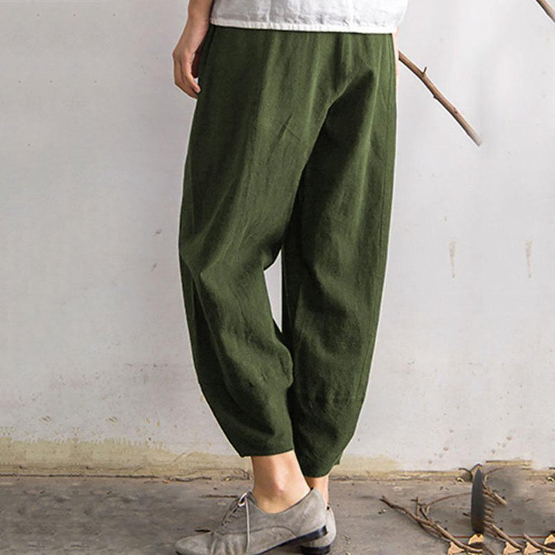 Vintage Elastic Waist Pure Color Pocket Pants for Women