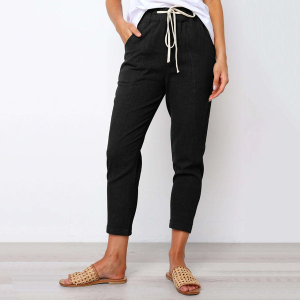 Casual Elastic Waist Strap Solid Pants