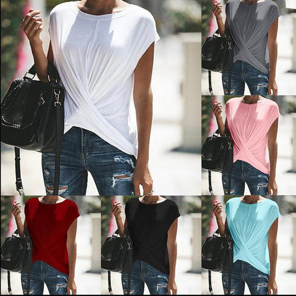 Plus Size Casual Loose Pure Color T-Shirt