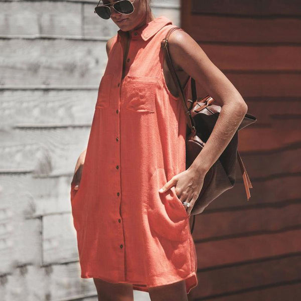 Casual Button Sleeveless Dress