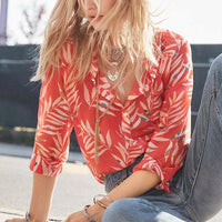Vintage Casual Leaves Print Lapel Blouse