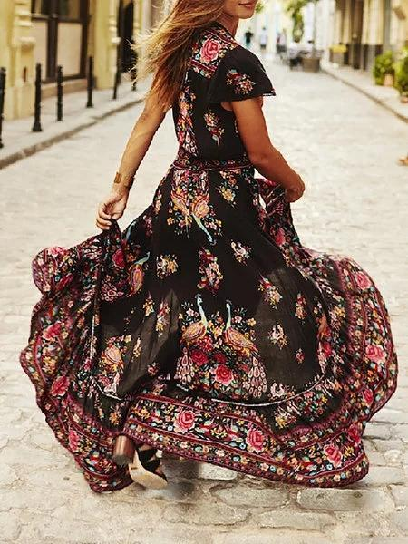Elegant V neck Swing Print Dresses