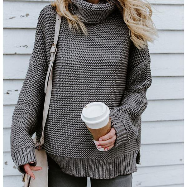 Solid Color High Neck Sweaters
