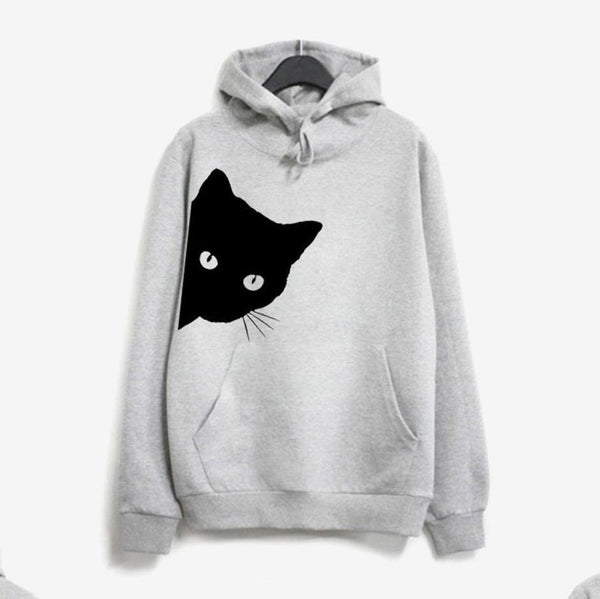 Women Casual Cat Print Hoodies