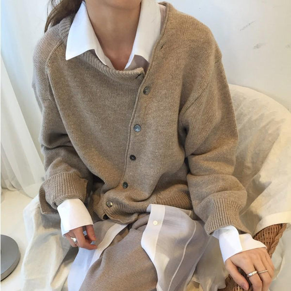 Irregular Knitwear Slanting Buckle Sweater