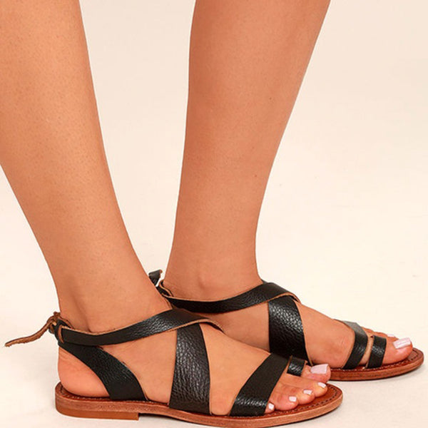 Dark Brown Leather Flat Sandals