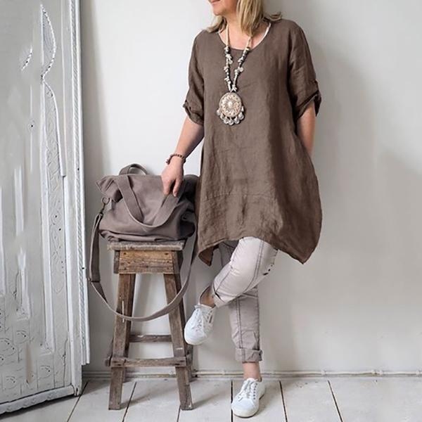 Casual Irregular Loose Fitting Linen Shirts