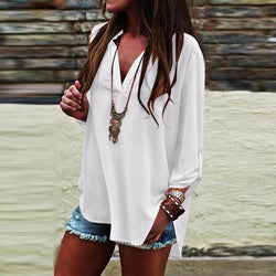 Plus Size Casual V Neck Side Vented Plain Blouses