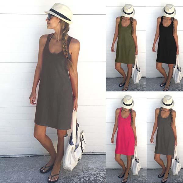 Casual Solid Color Beach Sleeveless Dresses